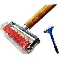 Stachelwalze 150 x 500 mm, Nagelroller, Igelwalze, Tapetenigel zum Perforieren von Tapeten (Stachelroller + Farbschaber)