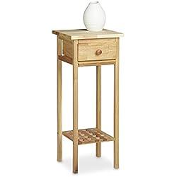 Relaxdays mesa para flores/puerta de flores, madera de nogal, con cajón mesa teléfono, con las siguientes medidas Hbt: aprox. 25 x 25 x 60 cm, color nuez
