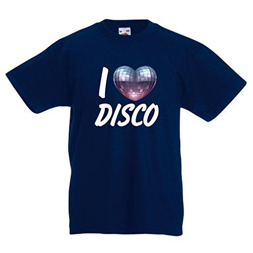 Kinder T-Shirt Ich liebe Disco - Retro Musik Kleidung (9-11 years Dunkelblau Mehrfarben)