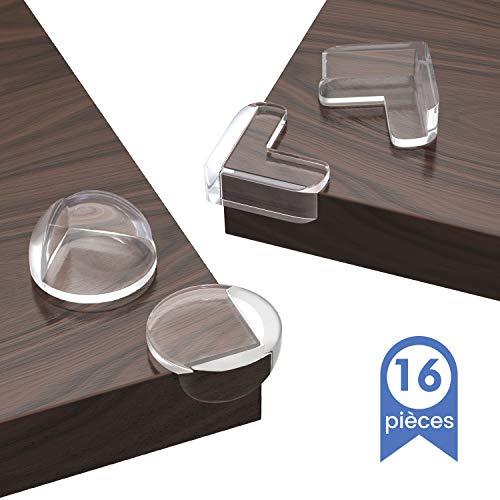 16PCS Protege Coin de Table, Protection Coin de Table et Meuble, Protecteur Transparent des Coins pour Securite Bebe Maison, Non Toxique sans Odeur avec Adhésif Durable