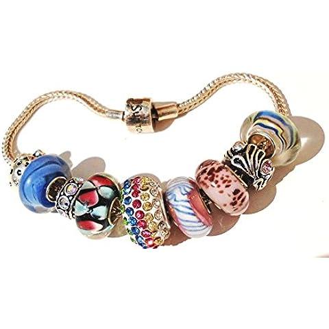 Pulsera de plata esterlina encanto / perlas con 9 calidad perlas núcleo individual + bolsa de regalo.