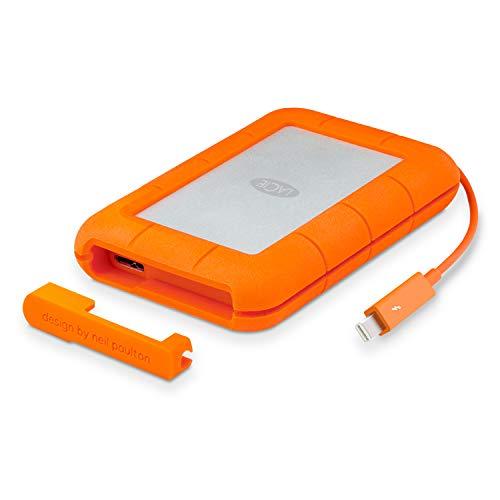 LaCie STEV1000400 Thunderbolt 1 TB Externe robuste Festplatte (6,4 cm (2,5 Zoll) Rugged, Staub-, Stoss- und Spritzwasser- geschützt, Thunderbolt und USB 3.0)