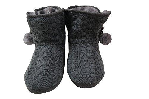 En Tricot pour femme bottes Chaussons en tricot avec pompon gris Gris