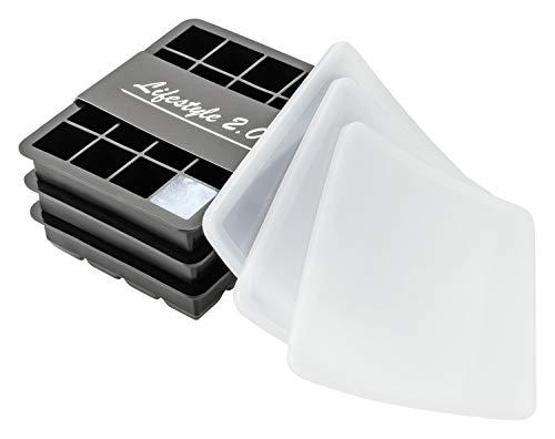 Lifestyle 2.0 Eiswürfelform Silikon Mit Deckel 3er Pack Eiswürfelbehälter BPA-Frei Für 60 Normale Eiswürfel (Verschließbaren Kleine Behälter)