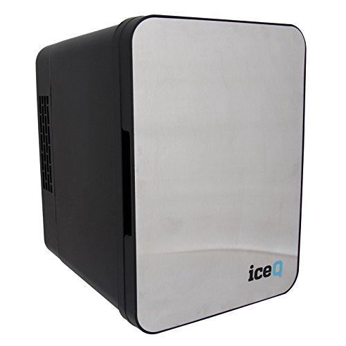 iceQ 4 Litre Small Mini Fridge Cooler - Stainless Steel/Black