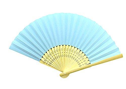 Demarkt Papierfächer Holz Handfächer Holz Hand Fan Holz Fächer Sommer Party Hochzeit Hand Fan Hellblau