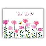 Fröhliche Dankes Karte mit Blumen und kleiner Biene: Vielen Dank