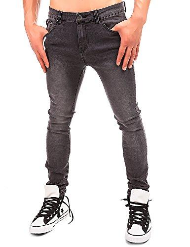 24brands Herren Röhrenjeans enge Jeans Jeanshose Hose Denim Waschung Used Look - 2960 Grau