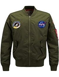 5a202baab3b YYZYY Homme Classique Style rétro Patches Flight Jacket Veste Bomber Pilot  vol Flying Blousons