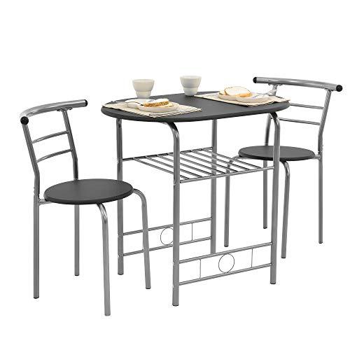[en.casa] set mobili bistro - tavolo con 2 sedie - nero/argento - metallo, mdf