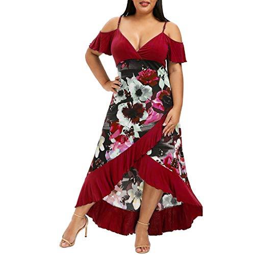 iHAZA Femmes Mode Grande Taille Floral Col en v Camis Manche Courte du Froid Robe épaule