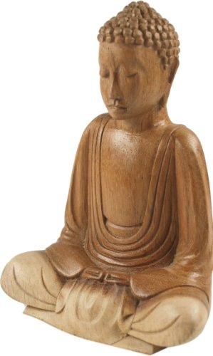 Guru-Shop Holzbuddha 16 cm, Dhyana Mudra, Suarholz, Buddha - Statuen, Figuren