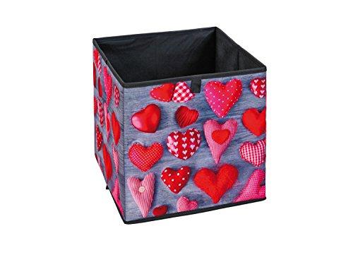 Interlink 99200476 Heart II Banc de Rangement Plastique Noir/Gris/Rouge 32 x 32 x 32 cm