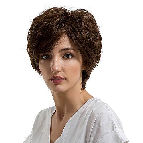 Malloom Frauen Medium kurze Haare Perücke schwarze Perücke, natürliche Frauen kurze Textur Haar Perücken leichte Welle menschliches Haar weibliche Perücken