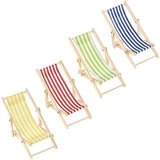4 Stück 1:12 Faltbare Holz Liegestuhl Miniatur Möbel Chaiselongue Liegestuhl Mini Möbel Zubehör in Rot, Blau, Gelb, Grün Streifen für Craft Dekor Geburtstag Geschenke Hochzeit Favor
