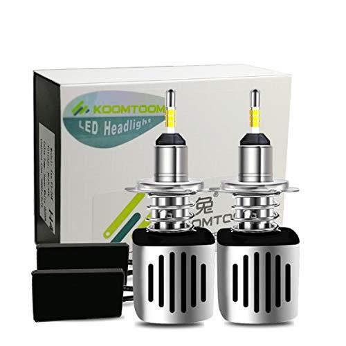 KOOMTOOM H7 LED Kit lampadine per fari anteriori a LED, interfaccia Canbus senza errori, correggono il fascio luminoso, illuminazione LED a 4 lati, senza riflessi, 52 W 10000 lm ... (H7)