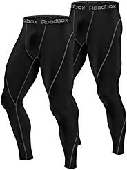 Roadbox 2 Pack Men's Compression Pants Workout Warm Dry Cool Sports Leggings Tights Baselayer for Running