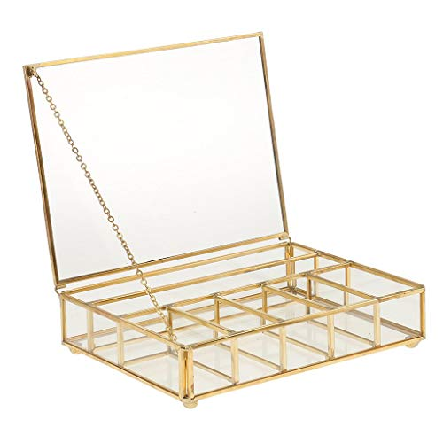 Tubayia Terrarium Box Glas Schmuckschatulle Schmuck Aufbewahrungsbox Sukkulenten Pflanzgefäß für Haus Dekoration