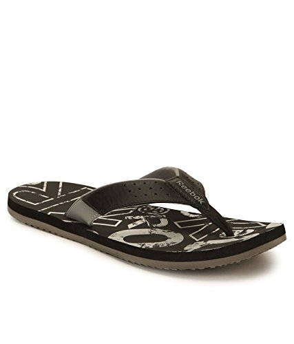 Reebok Men's Print Flip Black, Silver and Flat Grey Flip-Flops and House Slippers - 8 UK  available at amazon for Rs.599