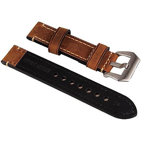 WEONE Marrón 20mm de cuero genuino reloj de reloj de la venda de la correa de la venda de la puntada con la hebilla de acero inoxidable