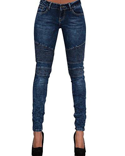 Donna Jeans Vita Alta Sottile Fit Magro Jeans Lunghi Matita Pantaloni Blu scuro