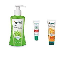 Himalaya Combo of Purifying Neem Face Wash, Tan Removel Orange Face Wash, Lip Balm