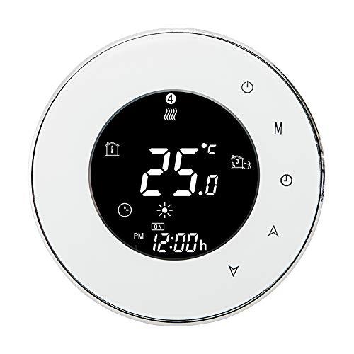 SEGRJ 3A WiFi Sprachsteuerung programmierbare Wasserheizung Touchscreen LCD Thermostat, weiß