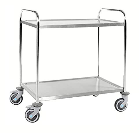 Sturdy Stainless Steel Trolley Serving Cart with 2 Shelves, Class C3 Stainless Steel 18/0 Stainless Steel