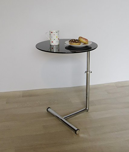 Aspecto negro cristal lateral/final/portátil/café table-zen ajustable mesa redonda, metal