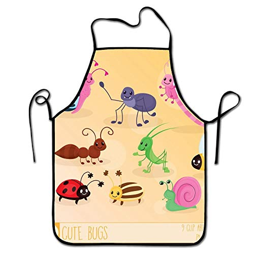 NewArival Waist Adjustable Professional Kitchen Apron-Cute Bugs -Woman Aprons Comfortable Perfect for Cooking Guide