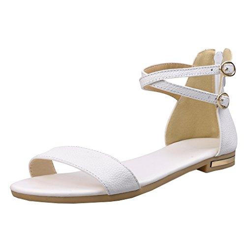 YE Damen Flache Ankle Strap Offene Sandalen mit Reißverschluss und Schnalle Bequem Simple Schuhe (1/2 Ankle Strap)
