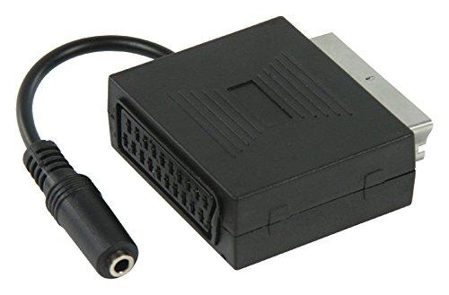 KnnX 28056 – Adaptateur Peritel mâle vers Peritel femelle avec sortie audio femelle pour écouteurs stéreo 3,5mm – Euroconnecteur avec sortie écouteurs stéreo