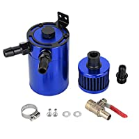 Akozon Oil Filter, Universal Aluminum Alloy Oil Tank Reservoir Catch Can Oil Capture With 2 Port Accessory Kit (Blue)