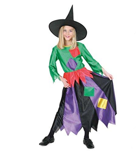 Hexenkostüm Kind Kleid Hut Hexe Hexen-Kinderkostüm Kostüm Witch (104) (Schwarz Und Lila Narr Kinder Kostüme)
