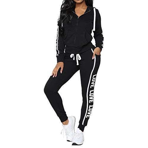 WWricotta Fashion Women Casual Stripe Zipper Long Sleeve Pullove Sport Tops+Long Pants Set(Schwarz,M)