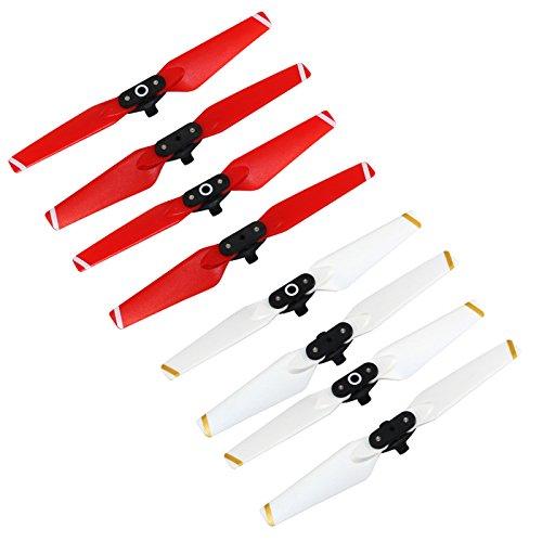 Rantow 8 Stück faltbar ausgeglichen Propeller für DJI Glimmer Drone Receivable-put out Klappmesser, 4CW + 4CCW (Unsullied + Red)
