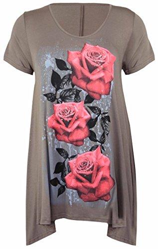 Neue Womens Plus Größe Uneben Zipfelsaum Kurzarm T-Shirt oben Damen Blumen Rosen Druck Jersey Tunika - Mokka, Damen, 52-54 (Womens Plus T-shirts Größe)
