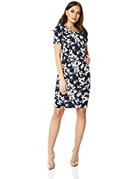 e35235ab9 Roman Originals Floral Print Bodycon Dress in Black - Ladies Everyday Smart  Casual Work Office Meeting