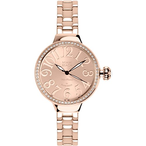 Glam Rock Miami Beach Art Deco MBD27099-BR 36mm Stainless Steel Case Rose Gold Gold Plated Stainless Steel Mineral Women's Watch