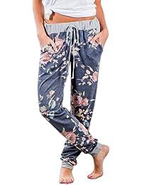 Dihope Femme Printemps Automne Bouffant Pantalon Longue Jambe Large Imprimé  Trousers Casual Pants Lâche pour Yoga 40599f26432