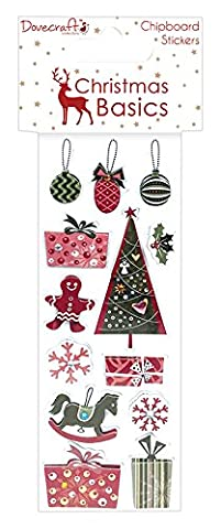 Dovecraft Christmas Basics Collection - Paper Chipboard Stickers