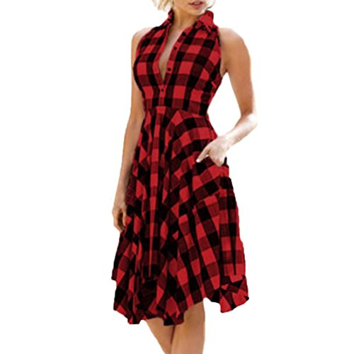 Kleid damen Kolylong® Frauen Elegant V-Ausschnitt Plaid Ärmelloses Kleid Vintage Karierte Irregulär Kleider Festlich Skaterkleid Knielang Cocktail Party Kleid Abendkleid (M, Rot) (Womens Snow Boots Plaid)
