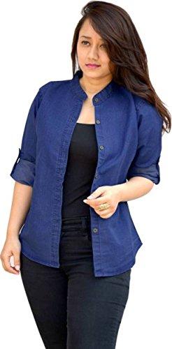 Trendy frog Women Long Sleeve Solid Denim Shirt Top, Blue, Large Size