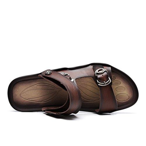 Neue Sommer Herren Offene Zehen Druckknopf Kreuzband Tägliche Bequeme Rückband Einfache Flache Lässige Sandalen Dunkelbraun