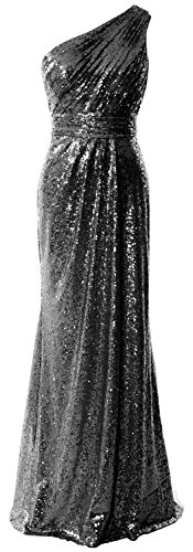 MACloth Women One Shoulder Sequin Long Prom Dress 2017 Formal Party Evening Gown Black