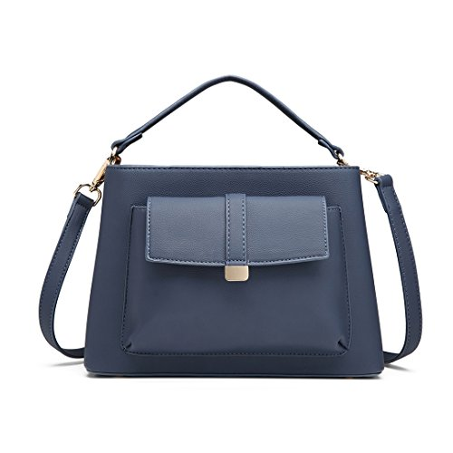 Miss Lulu Elegant Fresh Top Handle Handbag Crossbody Bag for Women Girls with Front Pocket Central Compartment (1770 Navy)