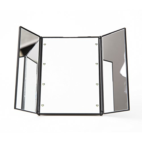 Beddingleer Plegable 8 Luces LED Negro Tri-Dobla Iluminado LED Espejo de Viaje Compacto para EL Maquillaje...