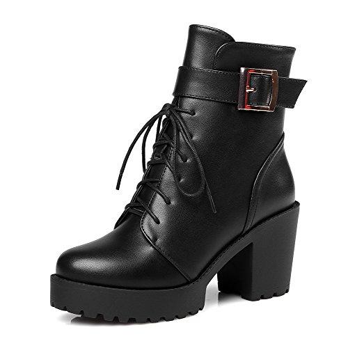 AgooLar Damen Weiches Material Schnüren Hoher Absatz Niedrig-Spitze Stiefel mit Schnalle, Rot, 39