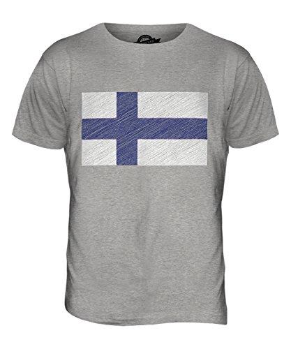 CandyMix Finnland Kritzelte Flagge Herren T Shirt Grau Meliert