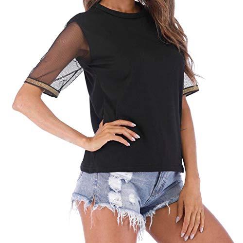 Lee Mit V-ausschnitt Jersey (KOKOUK ÄRmelloses Damen-T-Shirt Mit Net Color T-Shirt Der Art- Und Weisefrauen Gaze-Kurzschluss-Oansatz-Reine Farben-Bluse)
